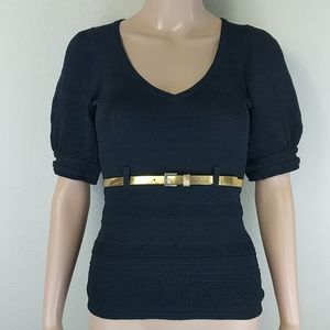 [Nanette Lepore] Black Puff Sleeve Belt Loop 3/4